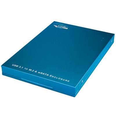 Eksterno kućište ICY BOX IB-187, M.2 SATA/mSATA SSD, USB 3.1-A, Aluminijsko kućište, plavo