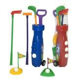 Dječji sportski set za golf, 3 palice, 3 loptice, 2 rupe sa zastavicom, kolica za palice