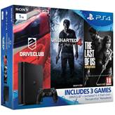 Igraća konzola SONY PlayStation 4, 1000GB, Slim D Chassis + Uncharted 4 + Driveclub + The Last of Us + Dualshock Controller v2 crni