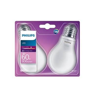 LED žarulja PHILIPS, A60, 7W, 2700K, E27, 2 komada