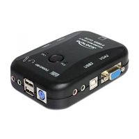 KVM switch DELOCK, 2PCa na tipk. + miš + monitor VGA (D-Sub), audio, USB