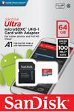 Memorijska kartica SANDISK, Micro SDHC Ultra Android, 64GB, SDSQUAR-064G-GN6MA, class 10 UHS-I + SD Adapter + Memory Zone Android App
