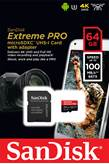 Memorijska kartica SANDISK, micro SD Extreme, 64 GB, SDSQXCG-064G-GN6MA, class 10, V30 UHS-I, 100MB/s + SD Adapter + Rescue Pro Deluxe