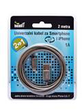 Kabel MEANIT, Universalni 2 in 1 USB za Smartohone i iPhone, 2m, metal