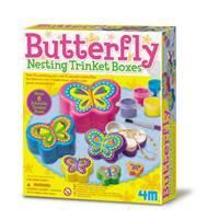 Kreativni set 4M, Butterfly Nesting Trinket Boxes, set za izradu ukrasnih kutija, leptiri
