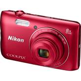 Digitalni fotoaparat NIKON Coolpix A300, 20, Mpixela, 16x dinamični zoom, SD/SDHC/SDXC, USB, WiFi, BT, crveni + SD/16GB + torbica