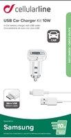 Auto punjač CELLULARLINE, za SAMSUNG, 2A/10W, bijeli + mUSB kabel