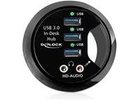 USB HUB DELOCK, 3-portni USB 3.0, audio, In-Desk