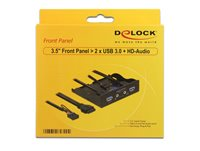 "Front panel DELOCK, 3.5"", 2x USB 3.0, HD audio, crni"