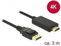 Kabel DELOCK, DisplayPort 1.2 (M) na HDMI A (M), High Speed 4K, 3m