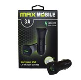 Auto punjač MAXMOBILE, CC-S005 QC 3.0, Quick Charge 3A, crni