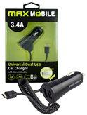 Auto punjač MAXMOBILE, USB DUO CC-D016 3.4A + kabel, mUSB, crni