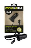 Auto punjač MAXMOBILE, USB DUO CC-D016 3.4A + TYPE C crni