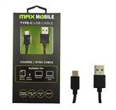 Kabel MAXMOBILE USB 2.0 Type C, 2m, crni