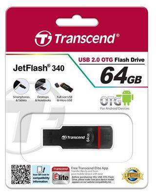 Memorija USB FLASH DRIVE TRANSCEND 64GB JF340, USB/micro USb