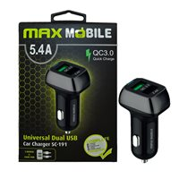 Auto punjač MAXMOBILE, USB DUO  SC-191 QC 3.0 Quick Charge 5.4A, crno-sivi