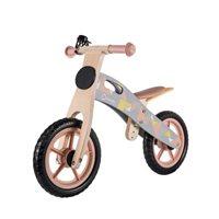 """Dječji bicikl LIONELO, Casper 12"""", drveni, bez pedala, kaciga, 6 kreda, rozi"""