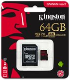 Memorijska kartica KINGSTON Canvas React SDCR/64GB, SDXC 64GB, Class 10 UHS-I + adapter