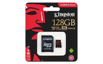 Memorijska kartica KINGSTON Canvas React SDCR/128GB, SDXC 128GB, Class 10 UHS-I + adapter