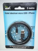 Kabel MEANIT, mUSB na MFI, za IPHONE 5/6/7/8/X, IPAD, 3m