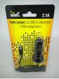 Auto punjač MEANIT, USB-C i USB 2.1A