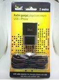 Kućni punjač MEANIT, micro USB i iPhone 6/7/8 utikačem, 2m, crni