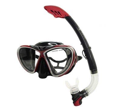 Komplet maska i dihalica EXTREME SUB 270S, silikon, kaljeno staklo, crvena