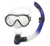 Komplet maska i dihalica EXTREME SUB 281A57, silikon, kaljeno staklo, plava