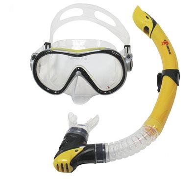 Komplet maska i dihalica EXTREME SUB 281A57, silikon, kaljeno staklo, žuta