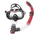 Komplet maska i dihalica EXTREME SUB 281A57, silikon, kaljeno stako, crvena