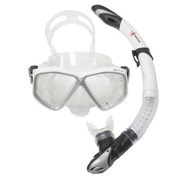 Komplet maska i dihalica EXTREME SUB 28554S, silikon, kaljeno staklo, bijela
