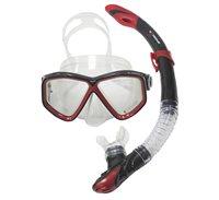 Komplet maska i dihalica EXTREME SUB 28554S, silikon, kaljeno staklo, crvena