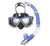 Komplet maska i dihalica EXTREME SUB 28554S, silikon, kaljeno staklo, plava