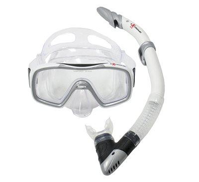 Komplet maska i dihalica EXTREME SUB 28741, silikon, kaljeno staklo, bijela