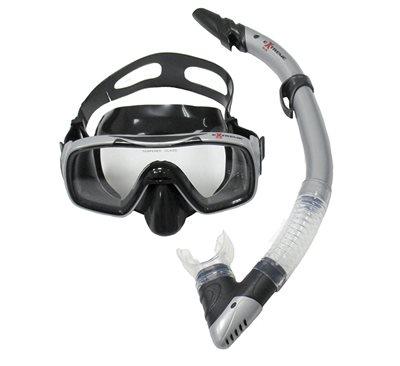 Komplet maska i dihalica EXTREME SUB 28741, silikon, kaljeno staklo, crna