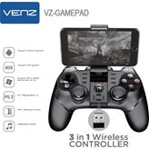 Gamepad VENZ 3u1, bežični, za PC/PS3/Android/iOS/VR, crni