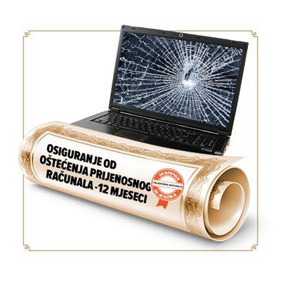 Osiguranje od oštećenja prijenosnog računala u trajanju od 12 mjeseci - vrijednosti uređaja 3751-7500 kn