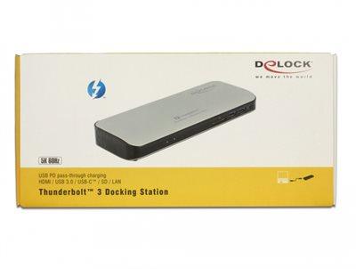 Docking station DELOCK, 4x USB 3.0, SD utor, 2x Thunderbolt,, HDMI, G-LAN RJ45, srebrni