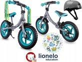 """Dječji bicikl LIONELO, Ben 12"""", drveni, bez pedala, plavi+ kaciga i naljepnice"""