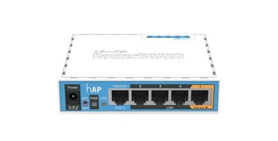 Access Point MikroTik hAP RouterBOARD RB951Ui-2nD, 650Mhz, 64MB RAM, 5×LAN, 2.4Ghz 802b/g/n integrirana antena, plastično kućište, PSU, RouterOS L4