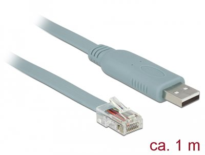 Adapter DELOCK, USB 2.0 (M) na serijski port RS-232 RJ45 (M), 1m, sivi