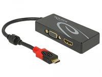Razdjelnik DELOCK, USB-C (M) na HDMI (Ž) i VGA (Ž), crni