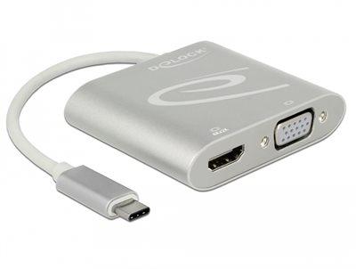 Razdjelnik DELOCK, USB-C (M) na HDMI (Ž) i VGA (Ž), srebrni