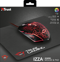 Miš + podloga za miš TRUST GXT 783, USB, optički, crni
