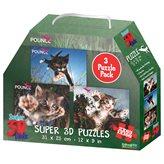 Slagalica NATIONAL GEOGRAPHIC, Super 3D Kids Puzzle, Mačke, 3u1, 100 komada