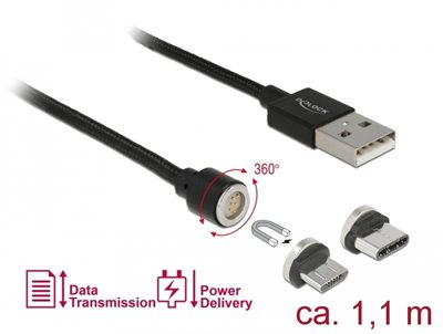 Kabel DELOCK, USB 2.0 (M) na USB Magnetski (USBMicro-B/USB-C) (M), 1,1m