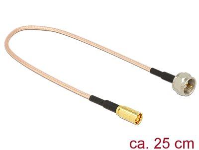 Kabel DELOCK, za antenu, F plug > SMB plug, RG-316, 25cm