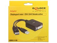 Adapter DELOCK, Displayport (M) na DVI-I 24+5 (F) active, 23cm