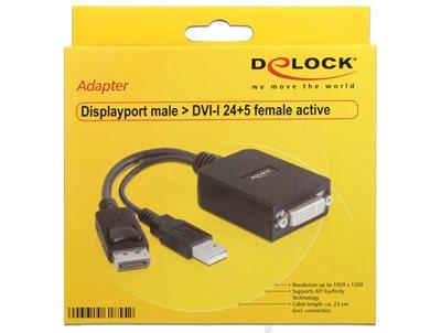 Adapter DELOCK, Displayport (M) na DVI-I 24+5 (F) active, 23cm