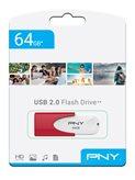 Memorija USB FLASH DRIVE, 64 GB, PNY Attaché 4, FD64GATT4WR-EF, crvena